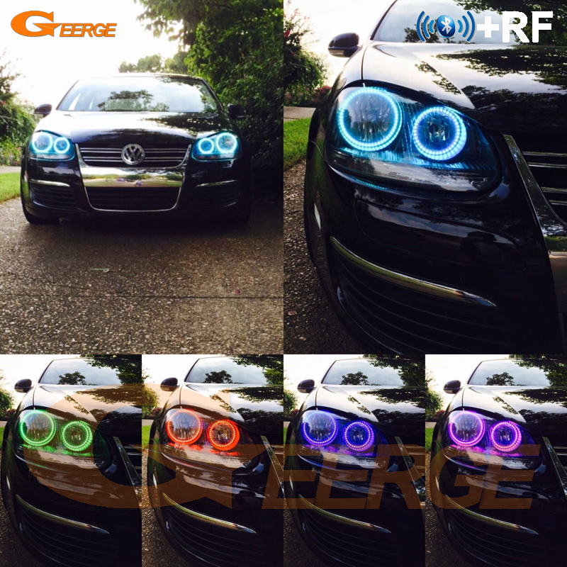 For Volkswagen VW Golf Rabbit Jetta GTI R32 MKV MK5 2005-2010 halogen headlight RF Bluetooth APP Multi-Color RGB led angel eyes
