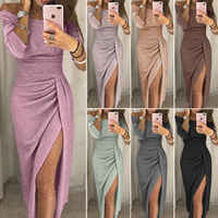 Uk womens cocktail party manga longa bodycon clubwear vestido longo split tamanho 6-16