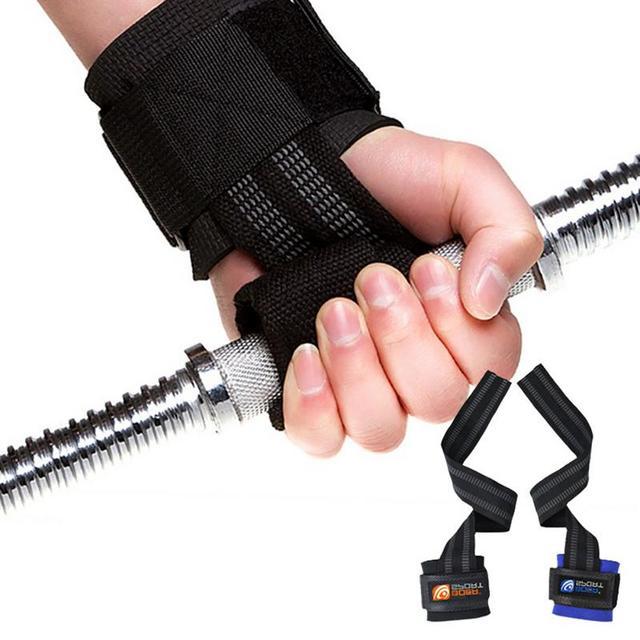 1 par de Deportes de ejercicio gimnasio soporte correa de agarre accesorios de Fitness para culturismo potencia de elevación tamaño libre