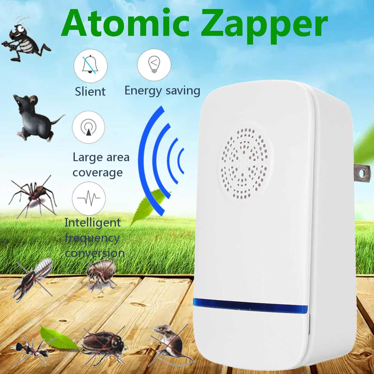 Ultrasonic Mosquito Dispeller Electric Smart Mosquito Killer Lamp Anti Mosquitos Repellent Insect Trapper Pest Control Machine Garden Supplies
