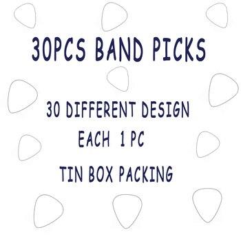 30 pièces métal rock bande guitare choisir noël noël cadeau guitare plectrum ensemble avec boîte en fer blanc emballage