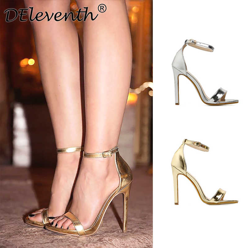 0820c896e4 DEleventh Brand Name ZA Fashion Woman Sexy Peep Toe Stiletto High Heel  Shoes Sandals Party Dress Gold Silver Wedding Shoes EU43