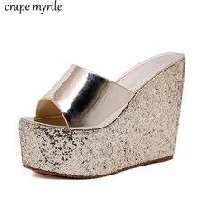 wedge flip flops Summer slippers womens mules with heels Flip Flops Wedges striped shoes women flip flops sandals women YMA738