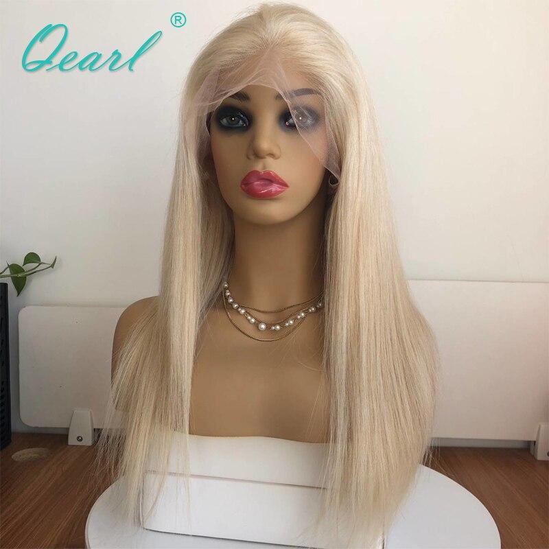 150% Densité Pleine Blonde Couleur de Cheveux Humains Pleine Dentelle Perruques Brésilien Remy Cheveux Raides Dentelle Perruque Pré Pincées Avec Bébé cheveux Qearl