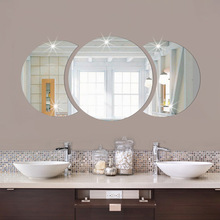 DIY round Wash Basin Mirror Factory AE Hot 3D Acrylic Home Improvement Wall Stickers Oil-Proof For Bathroom