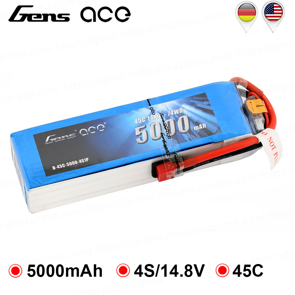 Gens ace <font><b>Lipo</b></font> <font><b>Battery</b></font> 14.8V <font><b>5000mAh</b></font> <font><b>Lipo</b></font> <font><b>4S</b></font> <font><b>Battery</b></font> Pack 45C EC5 Plug <font><b>Batteries</b></font> for RC Plane Helicopter Quadcopter FPV Drone image