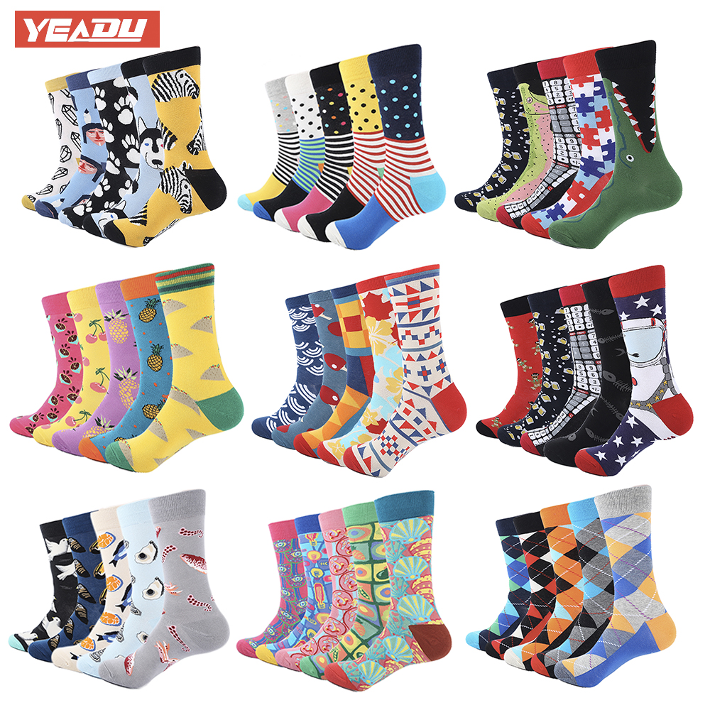 Yeadu 5 Pair/lot Colorful Funny Socks Mens Cotton Novelty Painting Popular Harajuku Long Socks Knitting Crew Socks Wedding Gift Distinctive For Its Traditional Properties Underwear & Sleepwears