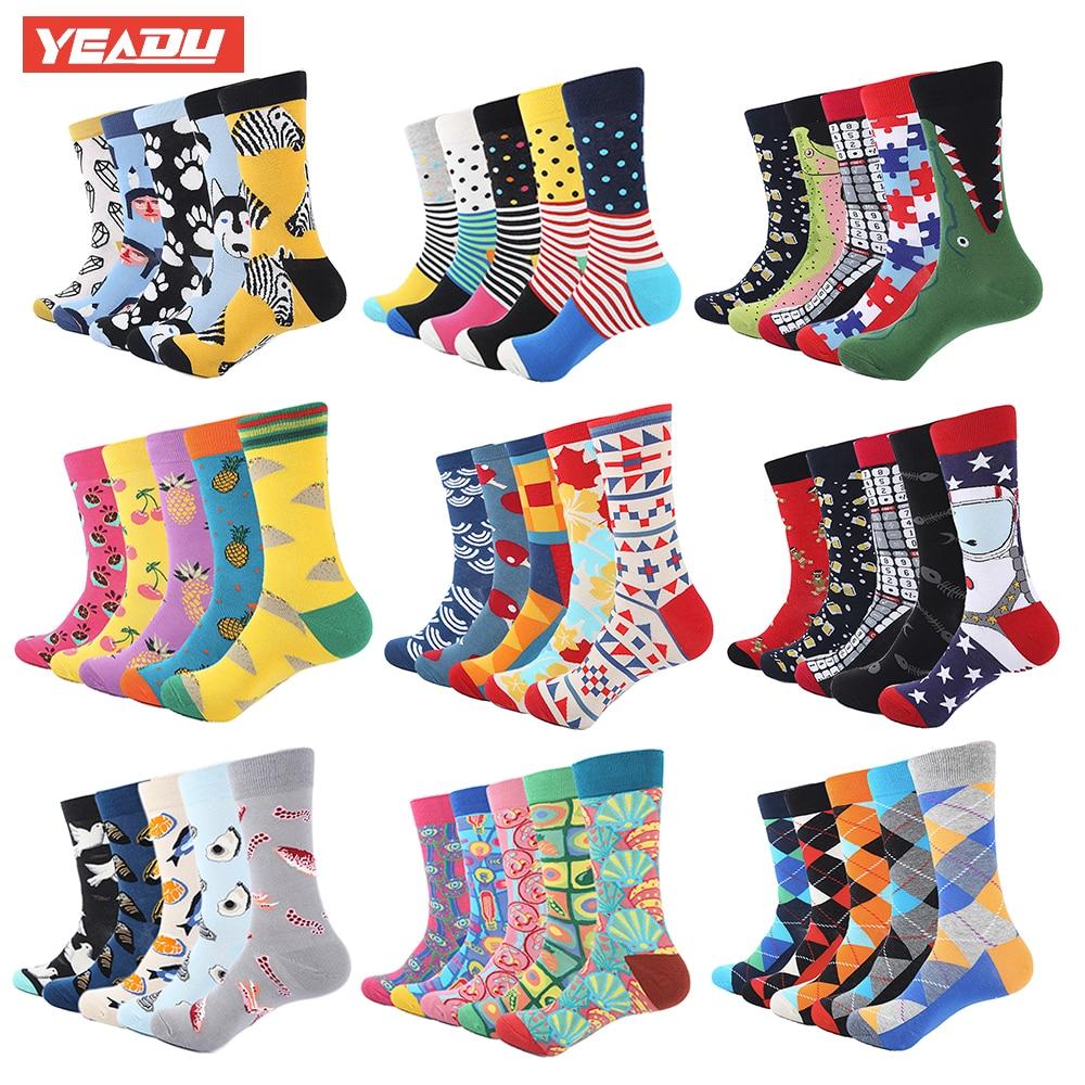 YEADU 5 Pair/Lot Colorful Funny Socks Mens Cotton Novelty Painting Popular Harajuku Long Socks Knitting Crew Socks Wedding Gift