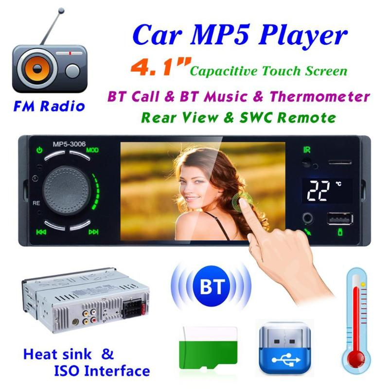 3006 4 1inch 1DIN Car Stereo MP5 Player FM Radio Car BT Music Player Infrared Remote