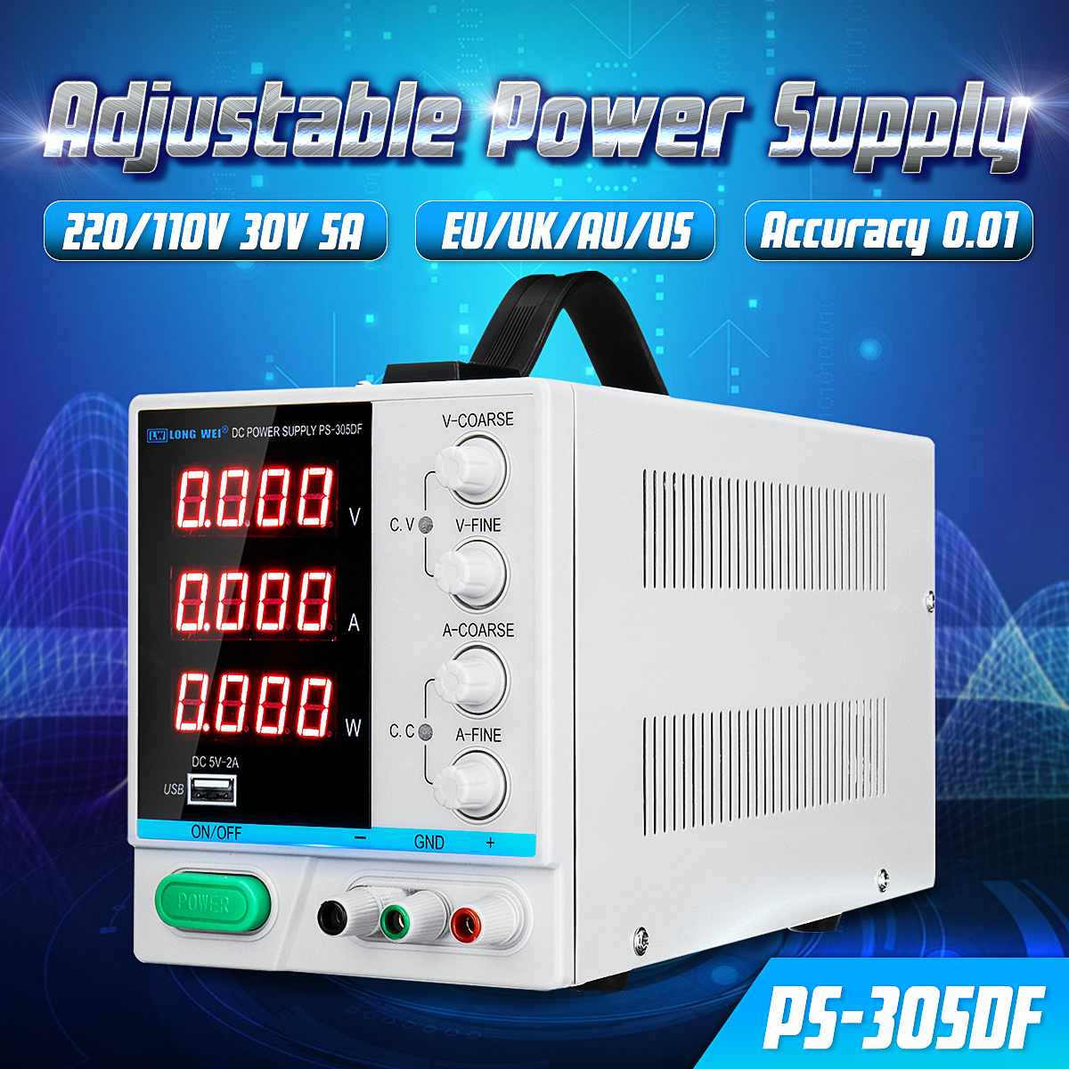 PS 305DF 0.01 Accuracy 110V/220V 30V 5A Adjustable DC Power Supply Switching Regulated Power Supply W/ 5V 2A USB