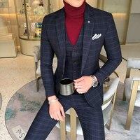 2018 Autumn Winter Long Sleeve Business Suit Coats Men High Quality Men Blazer Fashion Plus Size Casual Mens Plaid Blazer Jacket