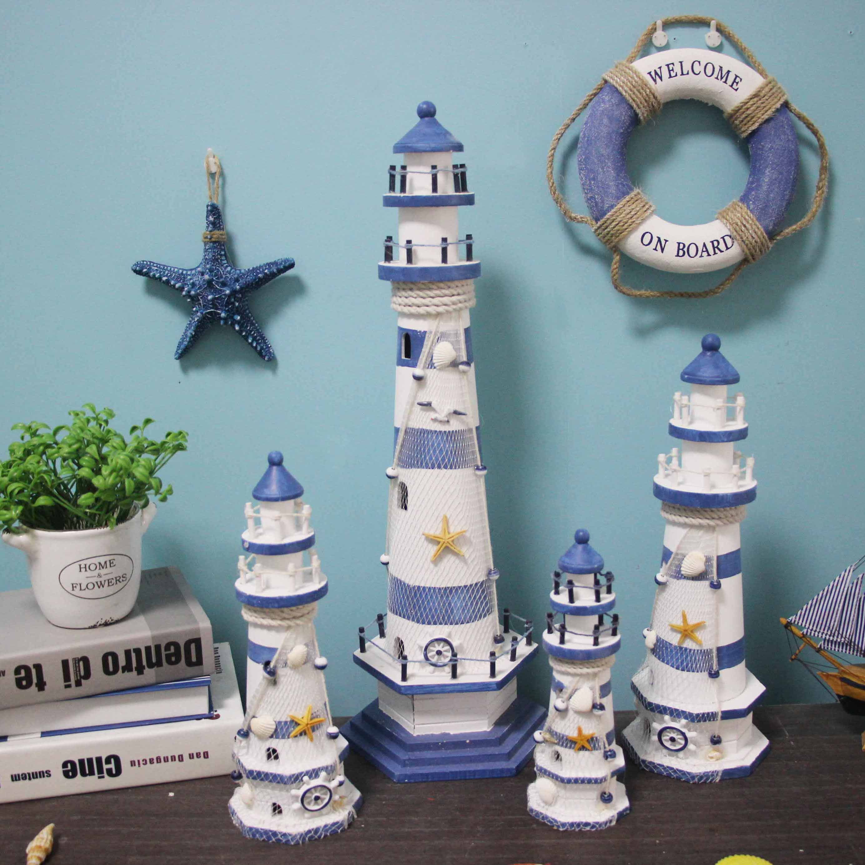 Craft:  Stripe Lighthouse Simulation Model Mediterranean Wooden Handicraft Home Decorations Creativity Marine Style Decor Arts and craft - Martin's & Co