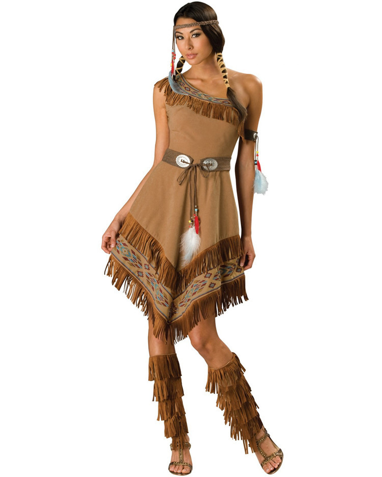 Girls Native Indian American Costume Childrens Cowboy Western Party Wear Outfit