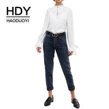 купить HDY Haoduoyi Elegant lace up white blouse shirt 2019 spring new long-sleeved shirt temperament repair lotus leaf bow tie по цене 697.56 рублей
