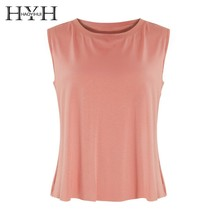 HYH HAOYIHUI Hot Summer Girl T-shirt Fashion Pure Loose Round Neck Short Vest