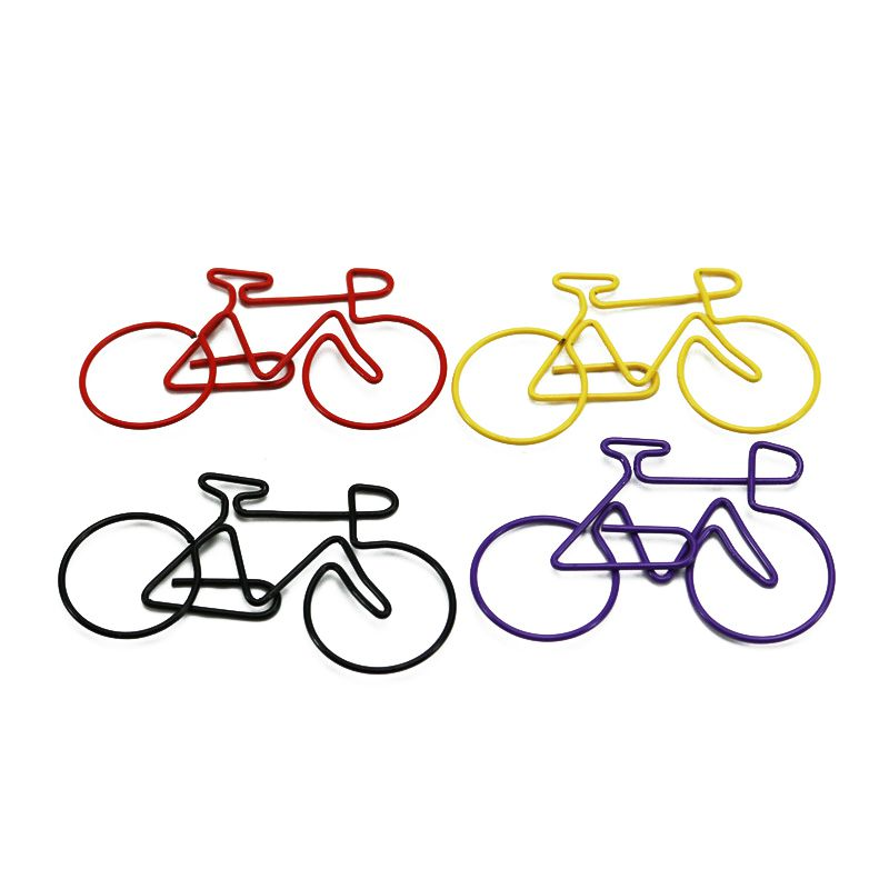 Bike Paper Clips Bicycle Metal Card File Clips Pack (Random Color) 50pcs