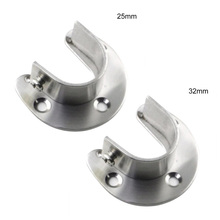 2pcs U-Shaped Rod Wardrobe Pipe Curtain Closet Hanging Clothes Rail Rod End Support Bracket Stainless Steel wardrobe Rail Suppor