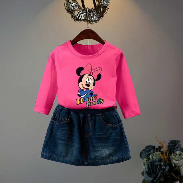 b45df4801 2019 Baby girls clothing sets kids 2 piece set minnie mickey mous T ...