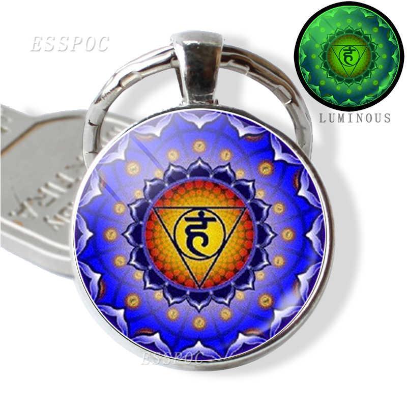 7 チャクラ発光ジュエリー仏教インドチャクラキーホルダーキーリング神聖幾何学カボションガラスペンダント