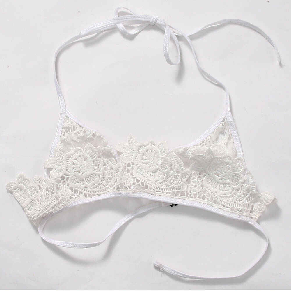 Women's  Sexy Lingerie Bra Ladies Floral Halter Lace Triangle Bralette  Unpadded Bra Crop Top Lingerie Underwear Black & White