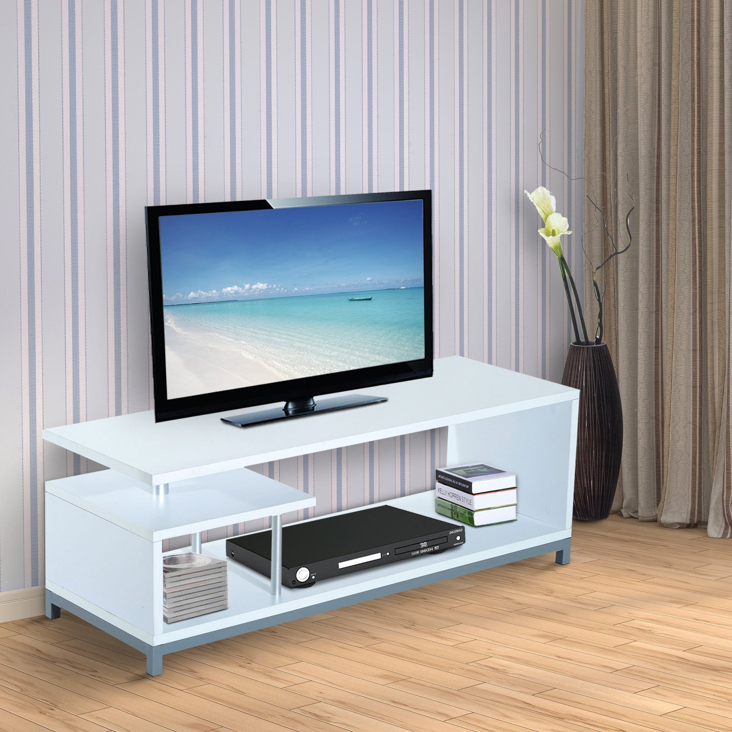 Muebles Modernos Para Tv Led Us 132 45 Homcom Mueble Para Televisor Con Soporte Moderno De Tv 114x40x40 5cm Mesa Tv Forma G 2 Color Blanco In Tv Stands From Furniture On