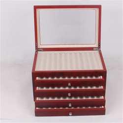 Caja de madera de 5 capas para bolígrafos, 56 ranuras para bolígrafo, estilográfica, estuche de exposición de madera, caja organizadora en negro y rojo