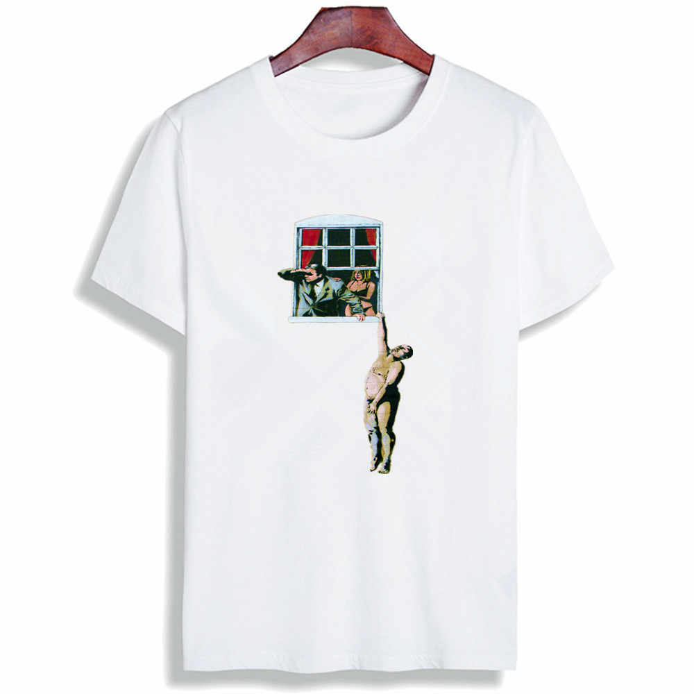 Fashion Lengan Pendek T Shirt Graffiti Art Lucu Seni Dicetak 100% Cotton Top Tees Kasual O Leher T-shirt Unisex Tshirt