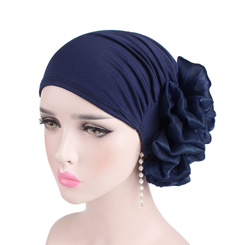 Sale Woman Big Flower Turban Muslim Scarf Cap Hair Accessories Elastic Cloth Hair Bands Hat Chemo Beanie Hat