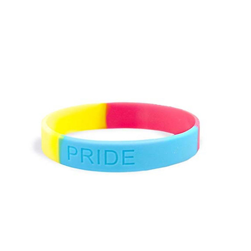 100pc Gay pride rainbow bisexual lesbian silicone wristband bracelet for Lesbian Trans pride gift