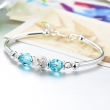 купить S925 Sterling Silver Jewelry Sapphire Bracelet Opening Bileklik Amethyst Bizuteria Ruby Crystal Kehribar Bracelet for Women 2019 по цене 558.83 рублей