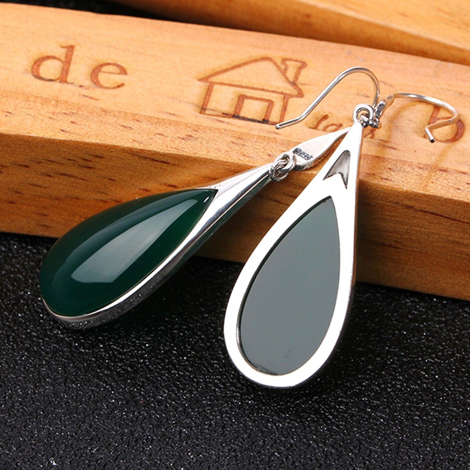 Nowy w stylu Vintage, szterling S925 srebrny zielony agat szczęście wypadania Dangle kolczyki w Kolczyki od Biżuteria i akcesoria na  Grupa 3
