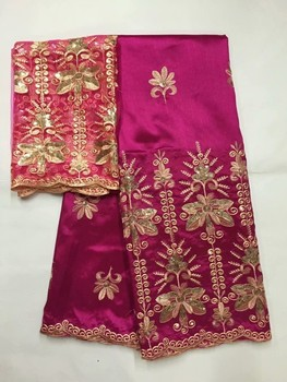 indian George Lace Fabric with 2yards Tulle Lace indian raw silk Georges with sequins African Wedding Nigeria Georges 2019