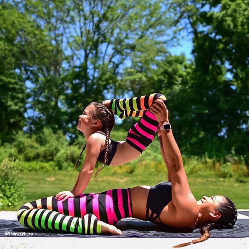 1e9db07bbc5a8 ... Family Matching Mom Kid Adult Multi-color Striped Women Yoga Pants  Fitness Leggings Running Gym ...