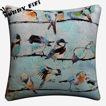 Birds On A Wire Artwork Soft Cotton Linen Cushion Covers 45x45cm Vintage Pillowcase For Sofa Home Decoration