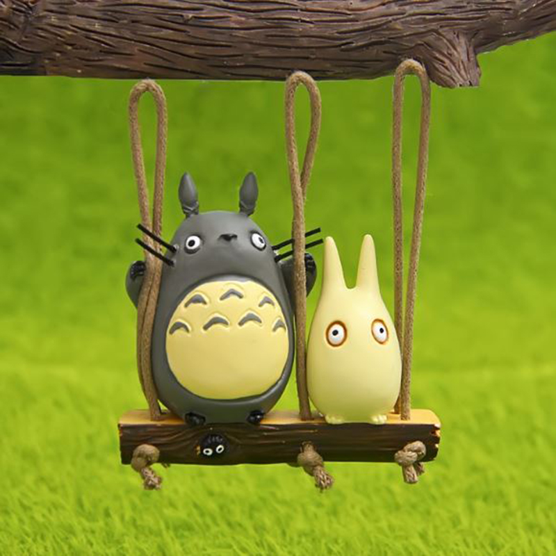 1 Pc Kawaii Anime Hayao Miyazaki My Neighbor Totoro Swing Totoro Action Figure Toy DIY Reisn Craft Ornament Toy Солдат