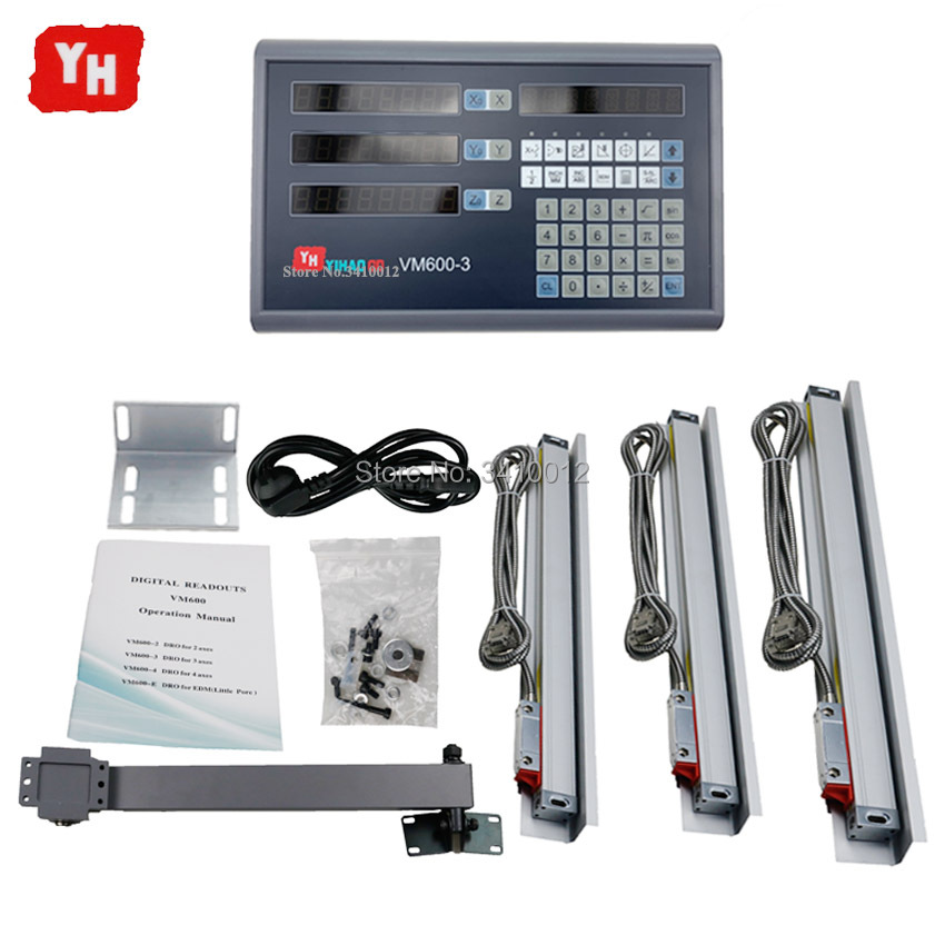 Dro Set Kit Unit Digital Readout Ruler and Control with 3 PCS 5U Linear Glass Scales