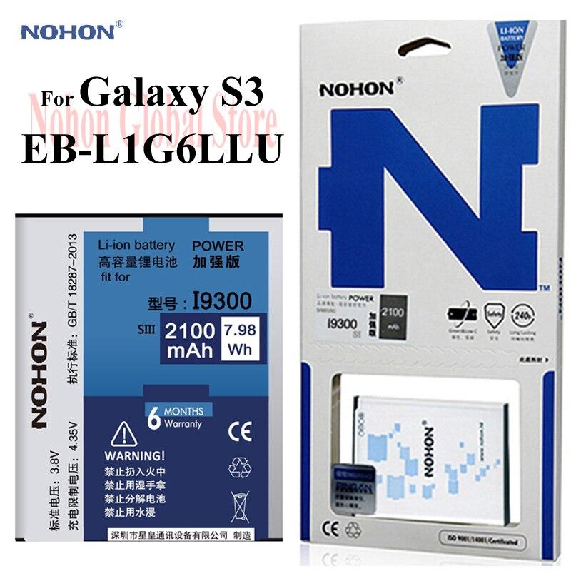 Original NOHON 2100 mah Batterie Für Samsung Galaxy S3 SIII I9300 I9308 i9082 i9305 T999 EB-L1G6LLU Galaxy S3 Ersatz Batterie
