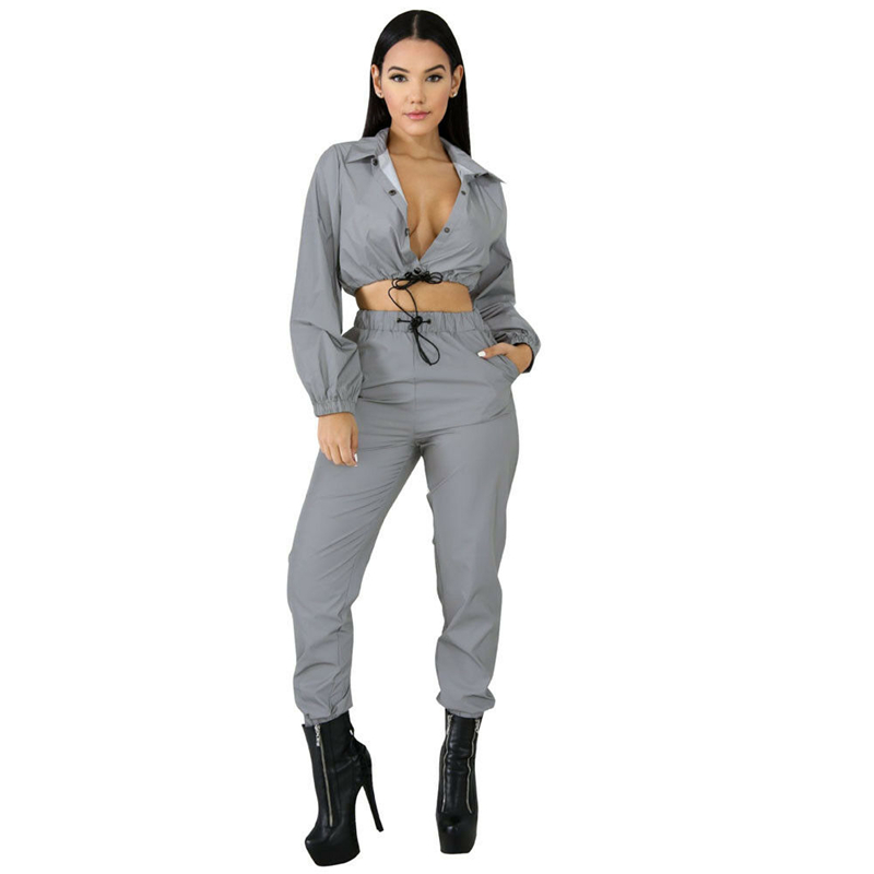 Image 3 - Hip Pop Streetwear 2Pcs Women Fashion Reflective Outfits Crop Tops Pants Sets Clothes Jumpsuit Playsuit 2 styles Night Club Wear-in Women's Sets from Women's Clothing