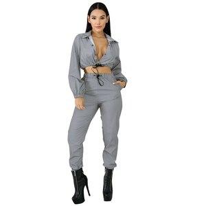 Image 3 - Hip Pop Streetwear 2Pcs Women Fashion Reflective Outfits Crop Tops Pants Sets Clothes Jumpsuit Playsuit 2 styles Night Club Wear