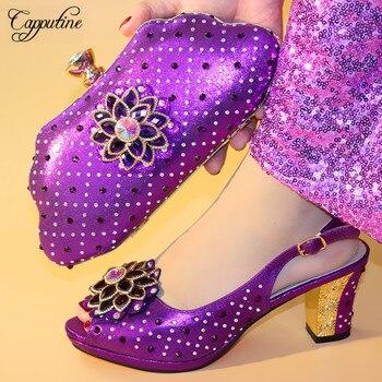 Capputine italiano de diamantes de imitación mujer fiesta zapatos y bolsos  nuevos africana de tacón alto 9 3c433c65c42a