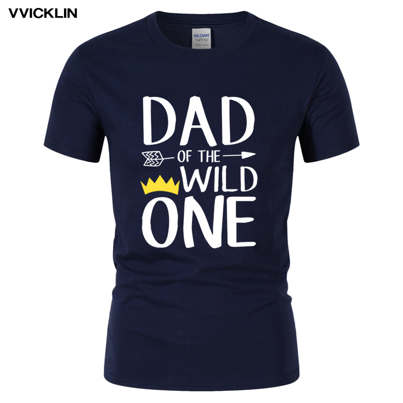 Funny T Shirt Awesome Dad Of The Wild One Thing Dad's Birthday Gift  T-shirt Men's Casual Cotton Short Sleeve Tee Plus Size