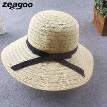 03002031eec summer straw hat women beach sun hat panama hat Floppy Foldable Man Unisex  Belt Straw Beach