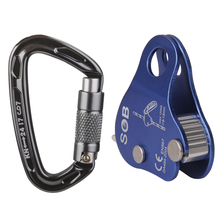 24KN Self Locking Carabiner + Aluminum Rope Grab Climbing Rappelling Gear for Rock Climbing Mountaineering Protector Accessories
