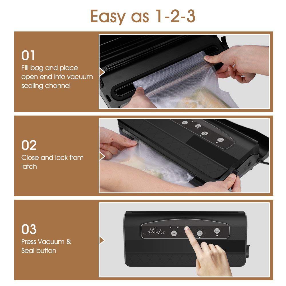 SANQ Vacuum Sealer Machine, Vacuum Sealer With Starter Kit, Automatic Sealing System With 20 Vacuum Sealer Bags, Multi-Use Vac