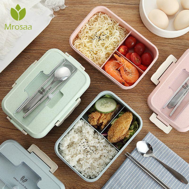 1000 ml Japanischen Mikrowelle Lunch Box Tragbare Kinder Kunststoff Bento Box Mit Fächern BPA Freies Weizen Stroh Lebensmittel Container Box