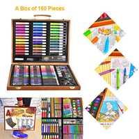 150pcs ציור כלים גדול תיבת מברשת צבעי מים עיפרון צבעי מים ילד מכתבים סט קופסא עץ