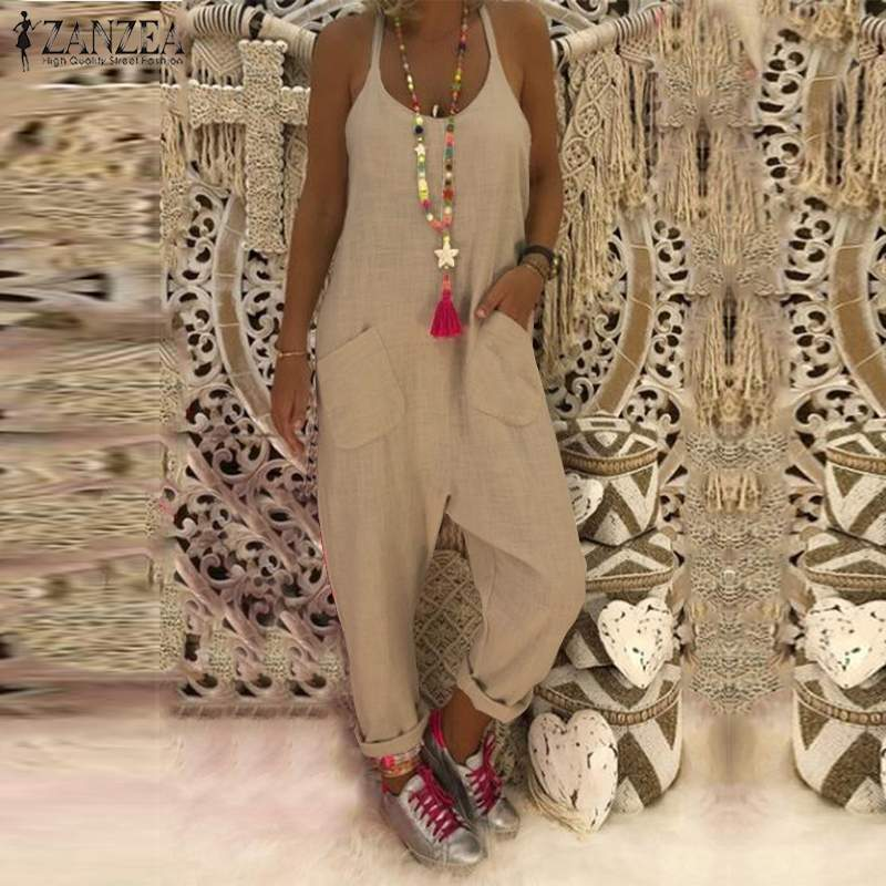 ZANZEA   Jumpsuit   Vintage Solid Combinaison Femme Women Sexy Sleeveless Backless Overalls 2019 Summer Long Mono Mujer Plus Size