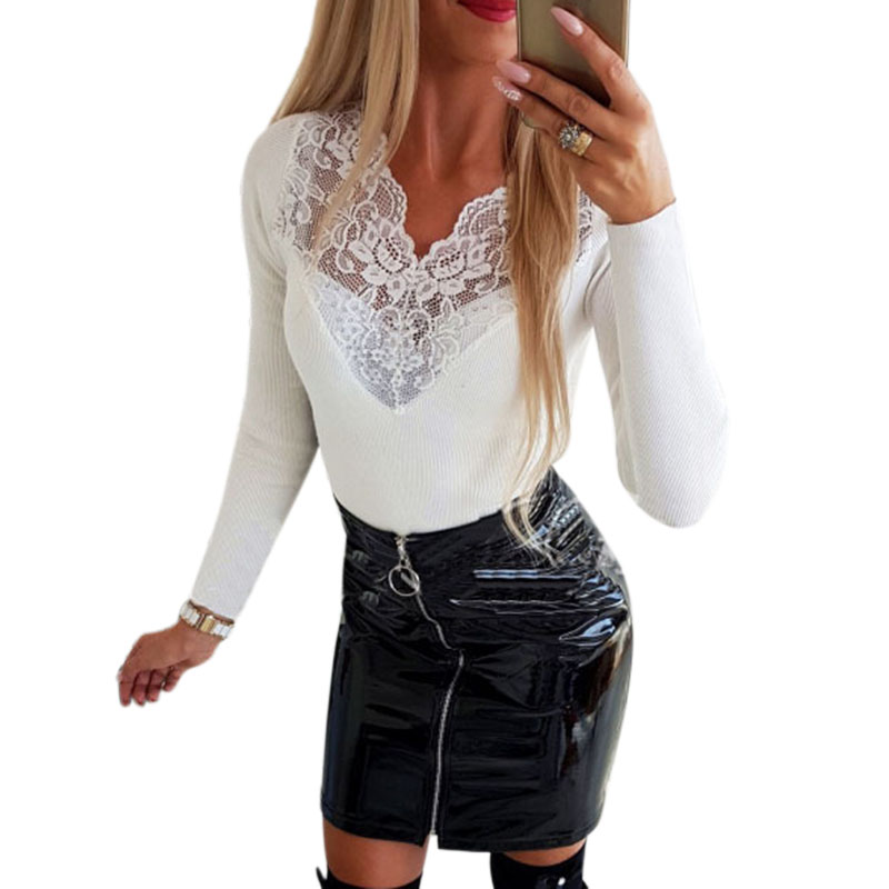 Women Knitted Tops Fashion Hollow Out Lace Wave Collar Patchwork Top Solid Long Sleeve Elegant Slim Tops Bottoming Shirt Femal