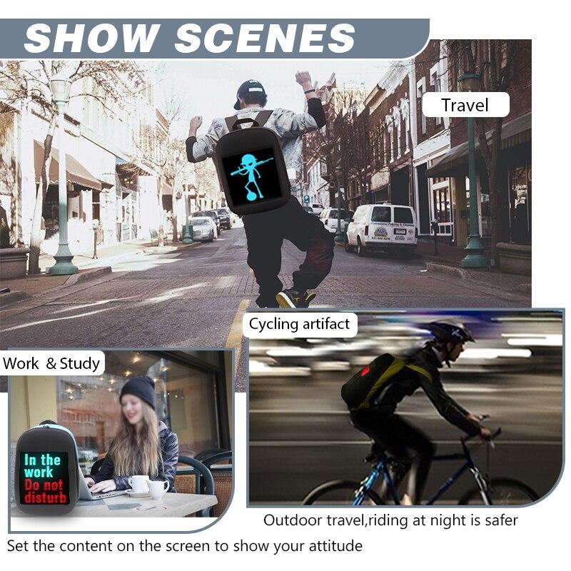 Écran LED dynamique publicité sac à dos bricolage wifi LED ville marche publicité sac pour ordinateur portable lumière - 4