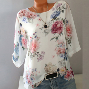 2019 Summer Autumn Floral Print Casual T Shirt Femme T Shirt Women O-neck Top Female White Half Sleeve T-shirt Woman Tshirt Top  1